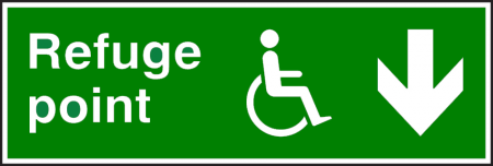 Refuge Point Disabled Fire Exit Sign - Man Running with Arrow Down- Rigid PVC