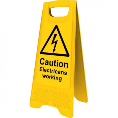 Yellow Caution Electricians Working Sign