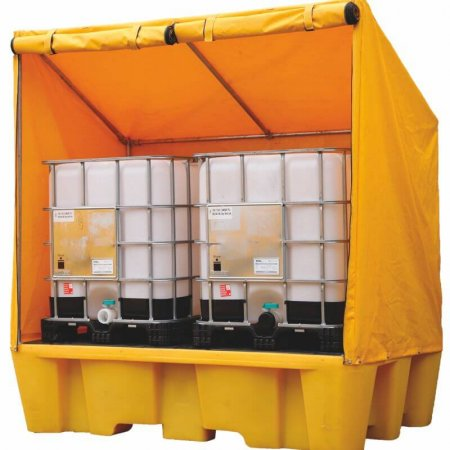 Covered Framed IBC Spill Pallet - Removable Deck, 1100 Ltr Sump