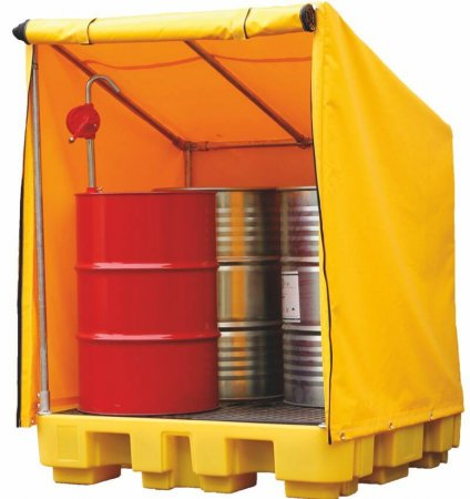 4 Drum Spillpallet With Cover, Sump Capacity of 250 Litres