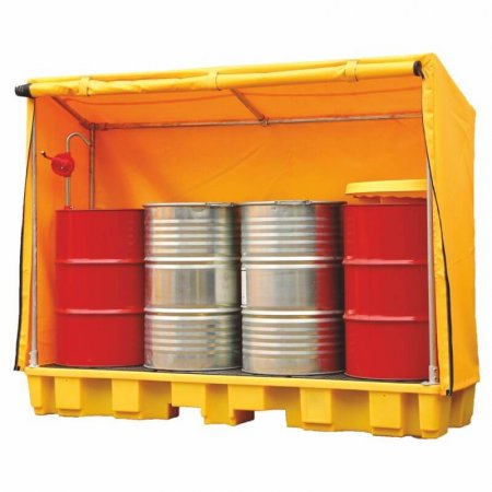 4 Drum In-Line Spill Pallet With Framed Cover, 235 Ltr Sump