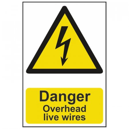 Danger Overhead Live Wires Warning Sign