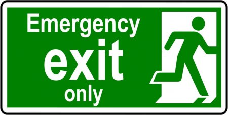 Emergency Exit Sign - Man with the Words Emergency Exit Only