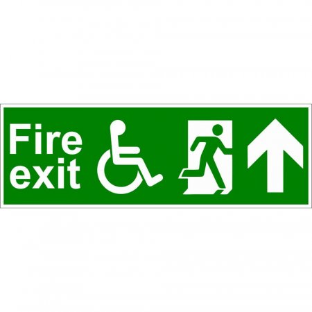 Disabled Fire Exit Sign - Man Running with Arrow Up