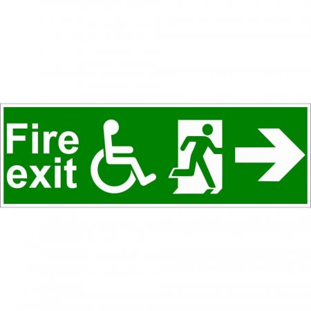 Disabled Fire Exit Sign - Man Running with Arrow Right