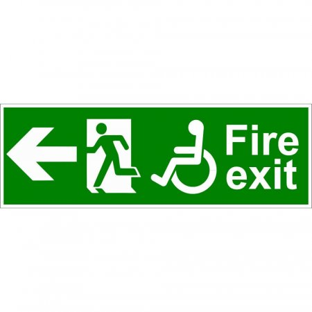Disabled Fire Exit Sign - Man Running with Arrow Left