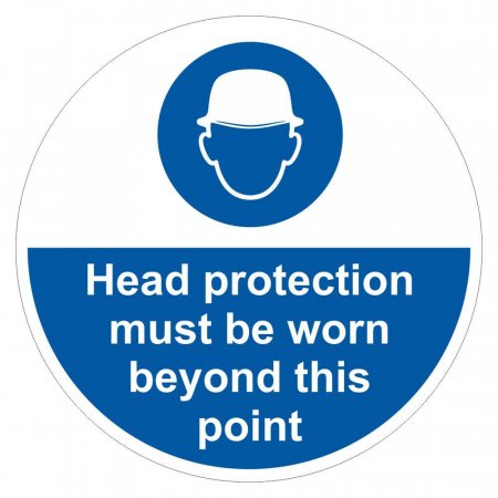 Head Protection Must Be Worn Sign Floor Graphic