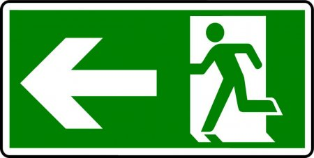 Emergency Exit Sign - Man with Left Arrow