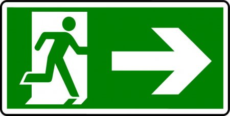 Emergency Exit Sign - Man with Right Arrow