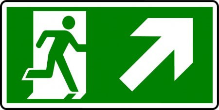 Emergency Exit Sign - Man with Up Right Arrow