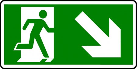Emergency Exit Sign - Man with Down Right Arrow