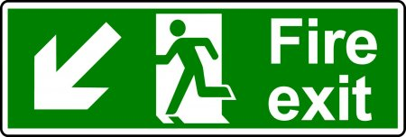 Fire Exit Sign - Man with Down Left Arrow