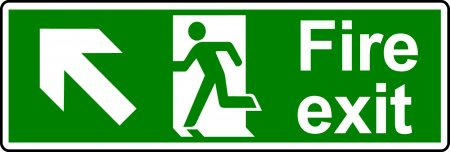 Fire Exit Sign - Man with Up Left Arrow