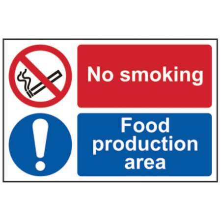 No Smoking Food Production Area Sign