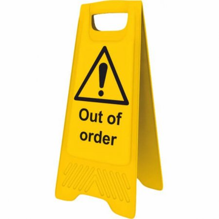 Yellow Out of Order Sign