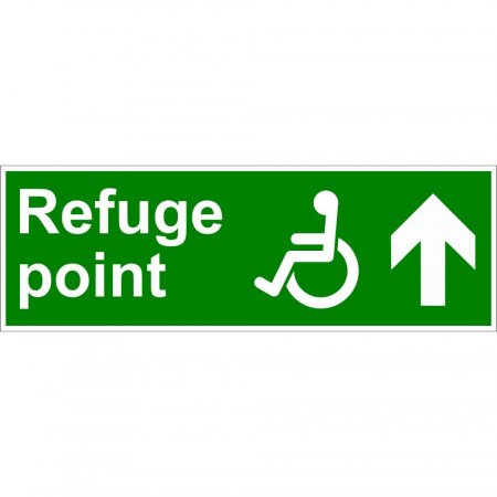 Refuge Point Disabled Fire Exit Sign - Man Running with Arrow Up
