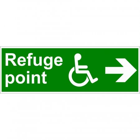 Refuge Point - Disabled Fire Exit Sign - Man Running with Arrow Right - Rigid PVC