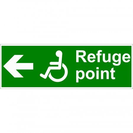 Refuge Point Disabled Fire Exit Sign - Man Running with Arrow Left