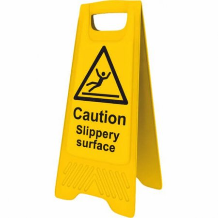 Yellow Slippery Surface Sign