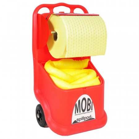 spillpod® MOBI Dispenser Cart with 1 x Absorbent Roll & 15 x Absorbent Socks for Chemical