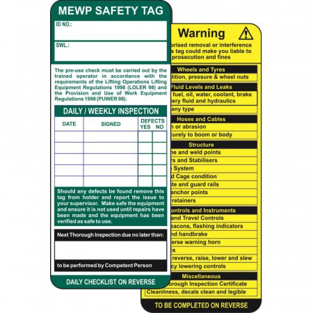 MEWP Safety Tag Insert
