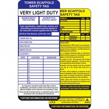 Tower Scaffold Safety Tag - Single Insert