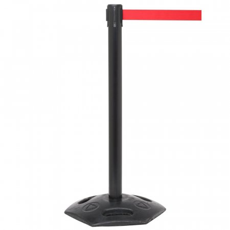 Weathermaster Retractable Safety Barrier - Black Post Red Belt