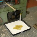 Large square drip tray in use