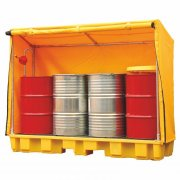 4 Drum Spill Pallet With 235 Litre Sump Capacity & Weatherproof Cover