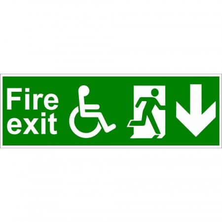 Disabled Fire Exit Sign - Man Running with Arrow Down